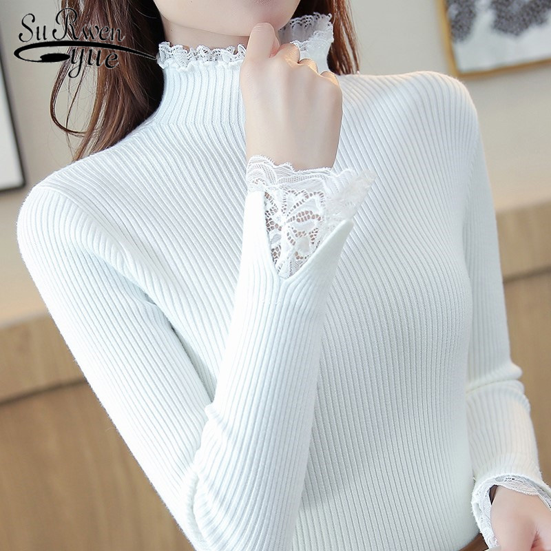 Spring Half-high Collar Sweater Women Slim Short Paragraph Bottoming Sweater Solid Color Lace Thickening Inside Sweater 7569 50