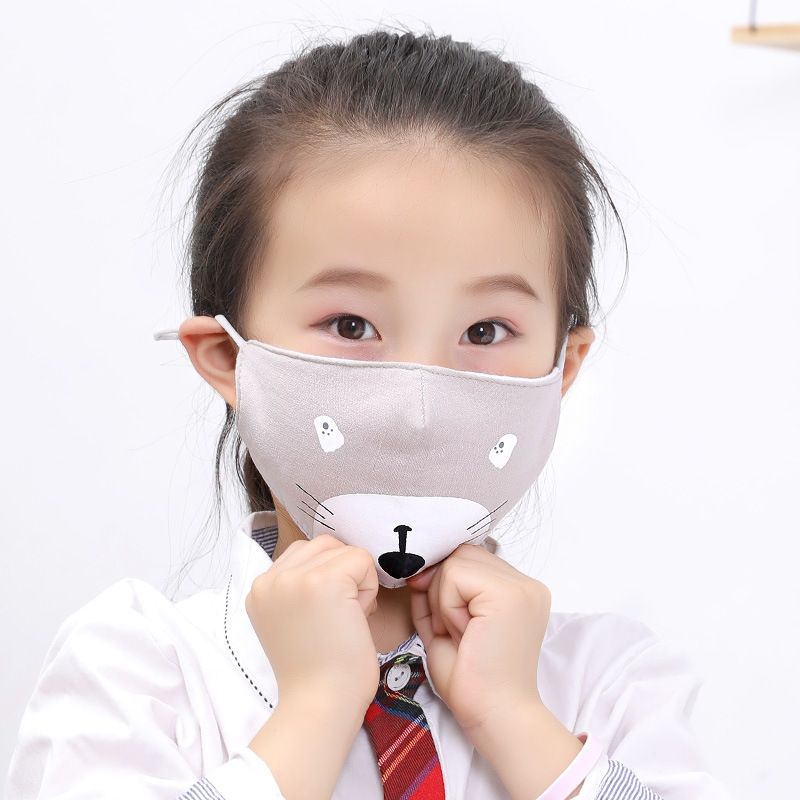Mouth Masks Cartoon Printing Dustproof Breathable Kids Cotton Mouth Face Nose Mask Cover Respirator Anti-Dust