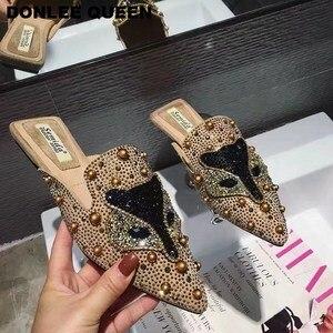 Image 5 - נשים כפכפים שקופיות שטוח נעליים יומיומיות נשים להחליק על פרדות שועל דפוס בלינג ריינסטון מסמרת נעלי נשים כפכפים Mujer 19