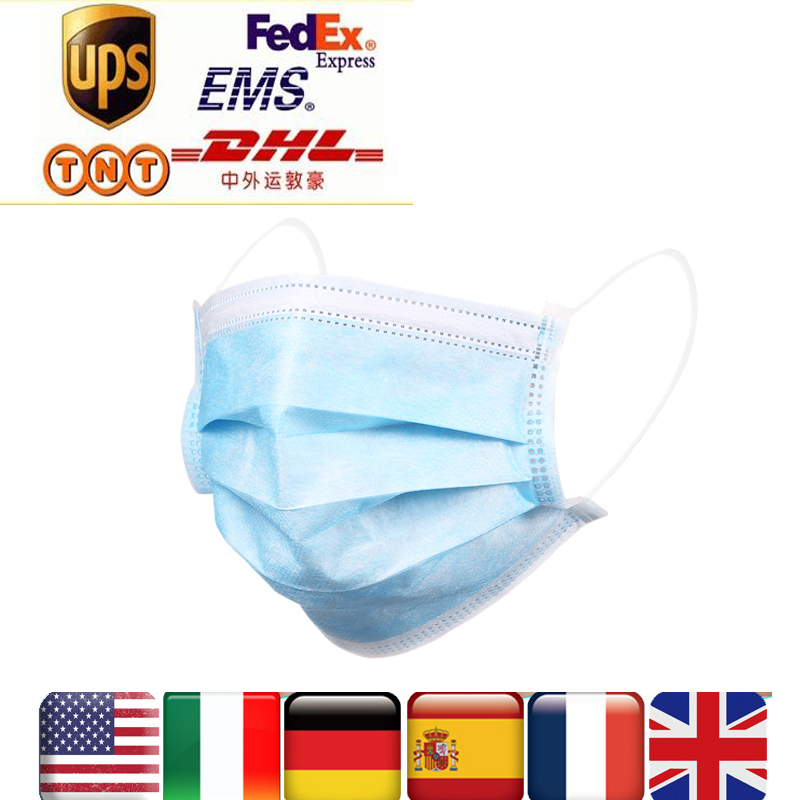 US CZ STOCK 24H Shipping 50 200 pcs Disposable respirator Face Mask Filter 3 ply Soft Breathable Protective mascarillas masquecondenser micmicrophone miniwired microphone -