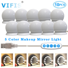 5 Modes Colors LED Make Up Mirror Wall Lamp USB 5V Hollywood Mirror Light 10W Touch Dimming Vanity Dressing Table Lamp 10Bulbs