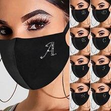 Masque de protection respirant pour adulte avec des strass,accessoire pour le visage, en tissu lavable et réutilisable,
