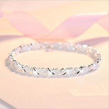 Top Quality 925 Sterling Silver color Bracelets For Women Wedding Accessories Lady Fahsion Zircon Geometric Bracelet Girl Gift lukeni latest female heart bracelets jewelry top quality silver 925 sterling silver anklets for women party accessories lady