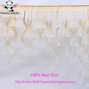 Image 2 - פנדה 613 בלונד חבילות עם סגירה ברזילאי רמי שיער טבעי Weave חבילות דבש בלונד גוף גל 3 חבילות עם סגירת תחרה