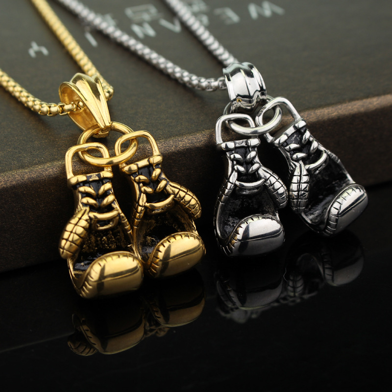 CHICVIE Luxury Mini Boxing Glove Present&Necklace For Men Unisex Choker Hiphop Chain Necklaces Statement Cool Necklace SNE190307