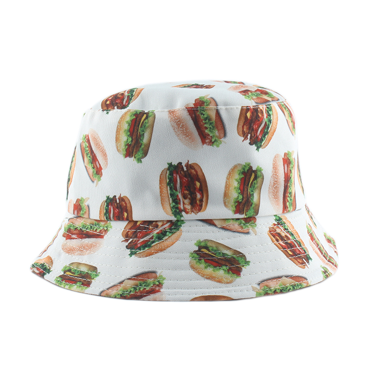 Women Men Cotton Fishing Hat Hip Hop Cap Hamburger Print Bucket Hat Reversible Sun Flat Top Fisherman Hats Caps Boonie Gift