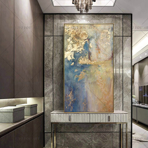 Large Handmade thick knife abstract oil painting Gold Blue White gorgeous abstract Painting home Living Room Decor Artworks(China)