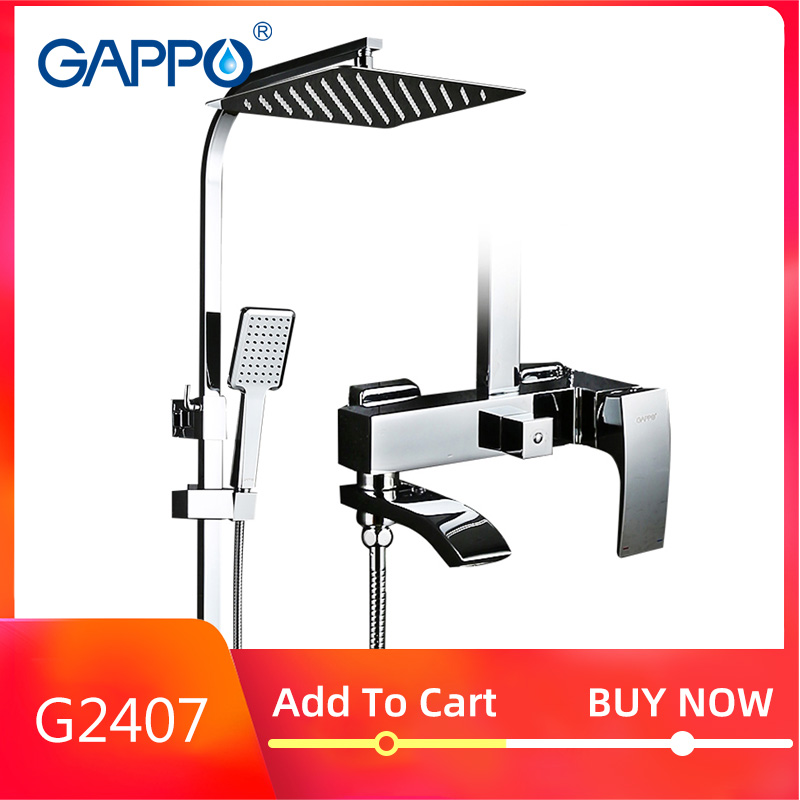 GAPPO G2407 Shower Faucet  BRASS Waterfall Wall Bathtub Faucet Mixer Tap Shower Head Chrome Bathroom Shower Set G2407 G2407-8