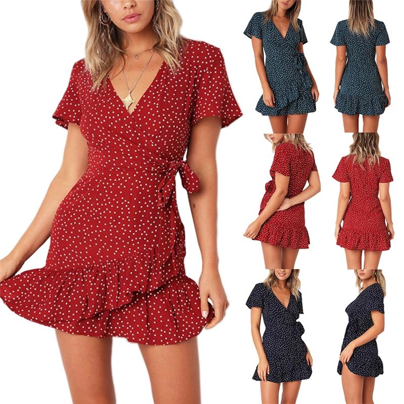 Summer Women Short Sleeve Print Dress V Neck Casual Short Dresses 1