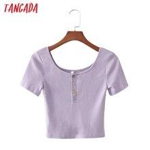 Tangada women summer big strethy T shirt short sleeve buttons O neck tees