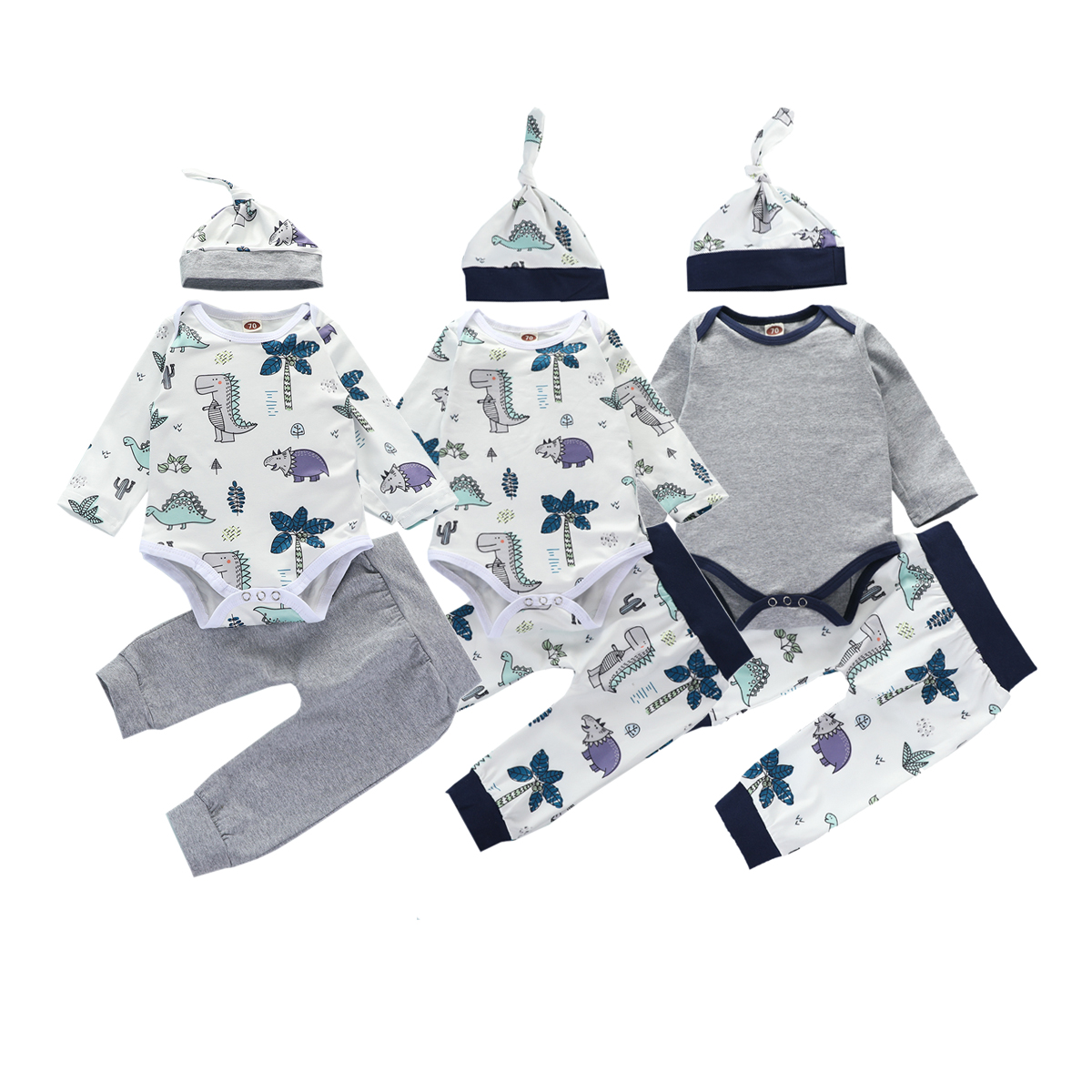 3Pcs Toddler Autumn Spring Suit Round-Collar Long-Sleeves Rompers Top Casual Pants Hat Cartoon Dinosaur Outfit for Baby Boy Girl