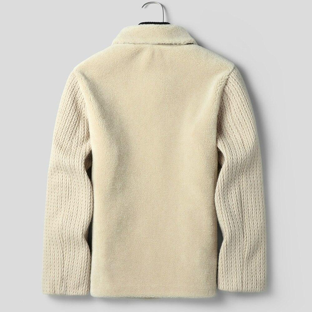 Men's Fur Coat 100% Wool Autumn Winter Sheep Shearing Jacket Real Fur Men Short Korean Vintage Fashion Jackets KJ1427