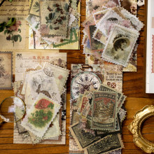 60Pcs/Set Vintage Stickers Retro Stamp Style Diary Planner Decorative Scrapbooking Stickers Craft Stickers Stationery Supplies
