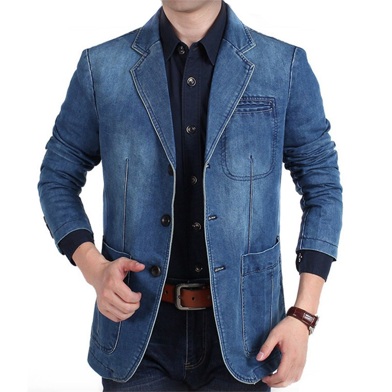Plus Size M-4XL 2019 Autumn Winter Jeans Blazer Men's Cotton Denim Smart Casual Men Suits Jackets Slim Fit Male Coats Clothing
