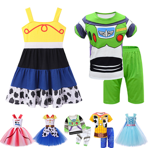 Boys Girls Story 4 of Toy Clothes Jessie Cowgirl Buzz Lightyear Tutu Dress Kids Cowboy Woody Bo Peep Outfits Cosplay Costume(China)