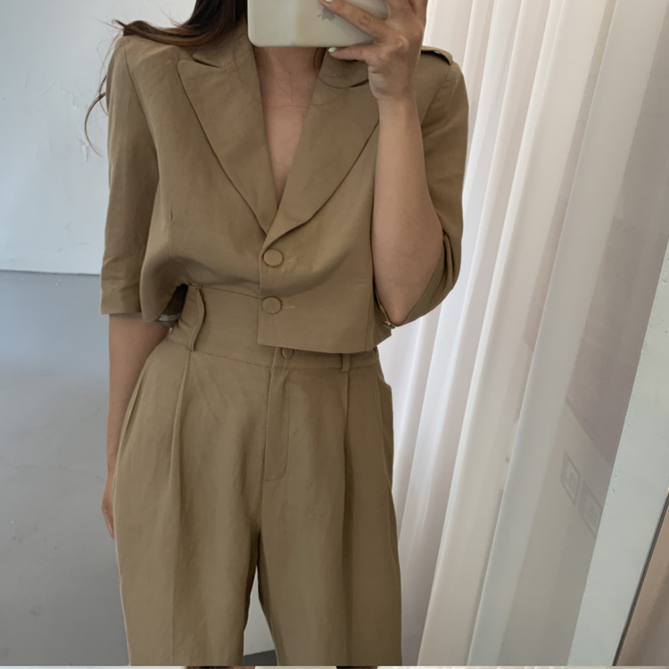 Women Vintage Korean Two Piece Outfits Set Thin Short Sleeve Single Breasted Blouses And High Waist Long Pants Mujer 2 Piece Set