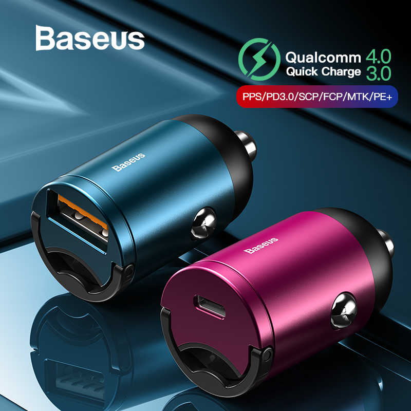 Baseus szybkie ładowanie 4.0 3.0 USB C ładowarka samochodowa dla Huawei P30 Xiaomi Mi9 telefon komórkowy QC4.0 QC3.0 typ C PD 3.0 szybka ładowarka samochodowa