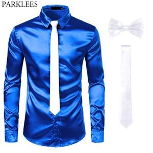 Image 3 - Мужская шелковая рубашка s, черная классическая рубашка из гладкого атласа, 3 шт. (рубашка + галстук + бабочка), приталенная Повседневная рубашка для вечеринки и выпускного вечера
