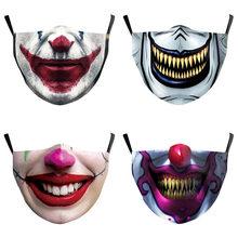 Quente engraçado crânio horror palhaço boca grande cosplay masculino máscaras adulto rosto à prova de poeira ciclismo manchas respirável máscara de halloween