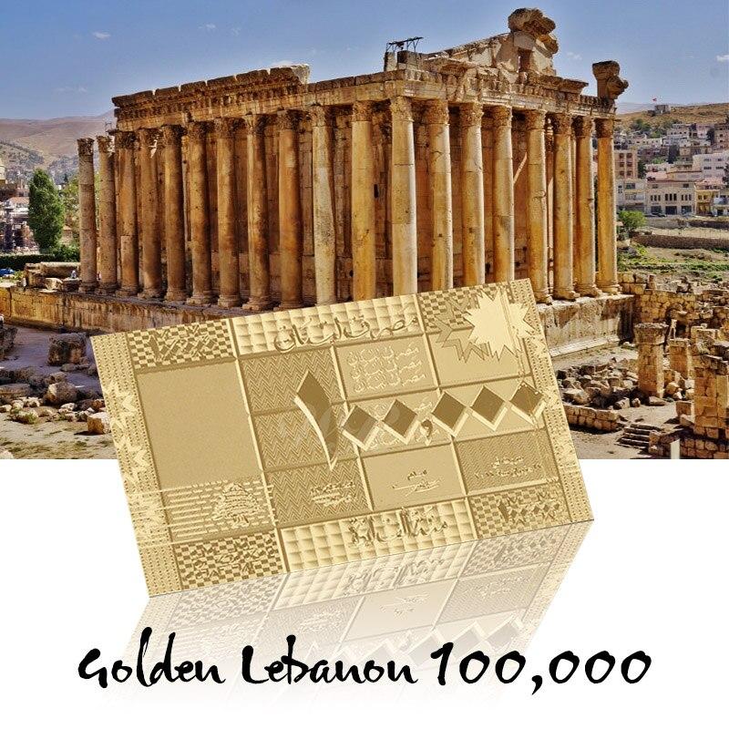 WR papel de hoja de oro billetes libra del Líbano 100000 con marco Cos billetes del mundo colección regalos Souvenirs Dropshipping