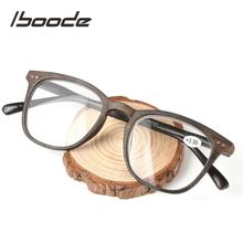 Iboode okulary do czytania w stylu Retro kobiety mężczyźni drewna ziarna czarna ramka okulary do czytania receptę oczu + 1 0 1 5 2 0 2 5 3 0 3 5 4 0 tanie tanio Unisex Jasne Lustro Poliwęglan 5 5cm Z tworzywa sztucznego 4 4cm 134mm 15mm 147mm