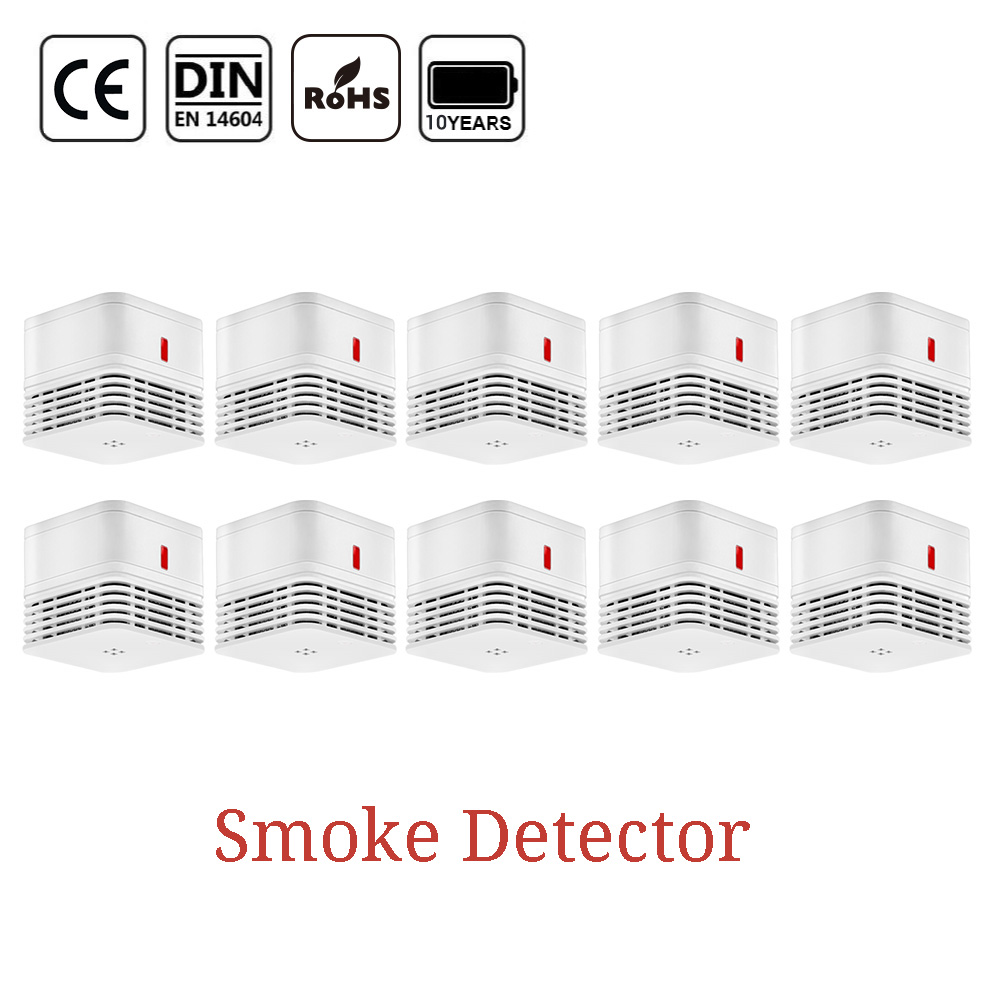 CPVan M10 Smoke Detector Alarm Detector EN14604 CE Certified 85dB Photoelectric Smoke Sensor Detector Alarm Systems Security