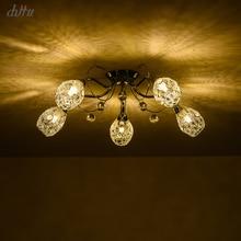 chrome lustre loft pendant light 5 heads crystal Pendant hanging Light bedroom living room lamparas de techo colgante moderna