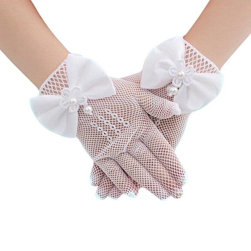 Gloves Girls Lovely Mesh Princess Gloves Lace Short  Dress Bow-knot Etiquette Gloves Wrist Length White, 1 Pair