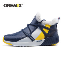 ONEMIX High Top Sneakers For Men New Fashion Winter Warm Wool Ankle Boots Couple Hiking Flats Shoes Outdoor Trekking Snow Boots(China)