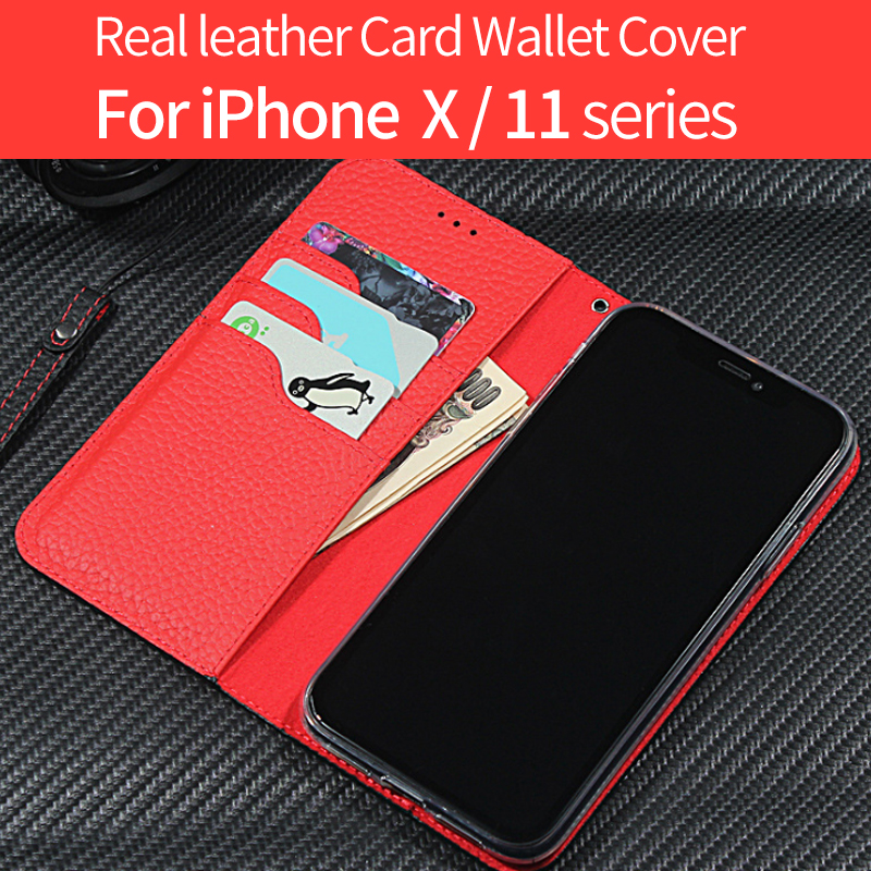 Real leather Case For Card Wallet Cover Business Phone Case <font><b>iphone</b></font> xr case <font><b>iphone</b></font> x case <font><b>popsocket</b></font> for mobile phones image