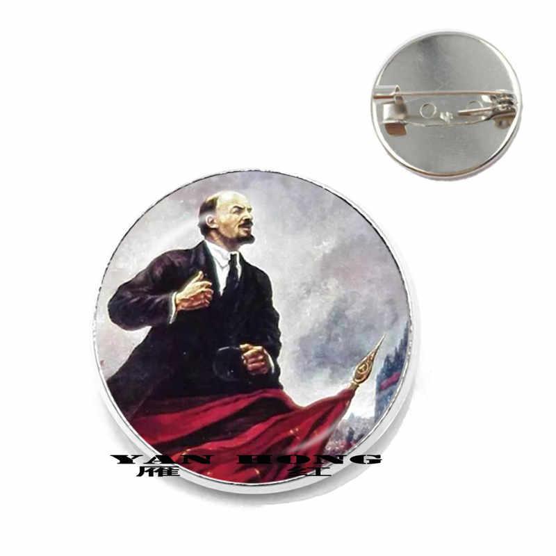 Emblema del Partito Comunista della ex Unione Sovietica e regime Sovietico che fanno Spilla 20 millimetri di vetro rotondo retrò commemorativa M
