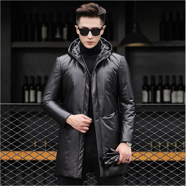 Free Shipping.2020 New Soft Sheepskin Jacket.winter Warm Men 80% White Duck Down Coat.long Genuine Leather Outwear.sales