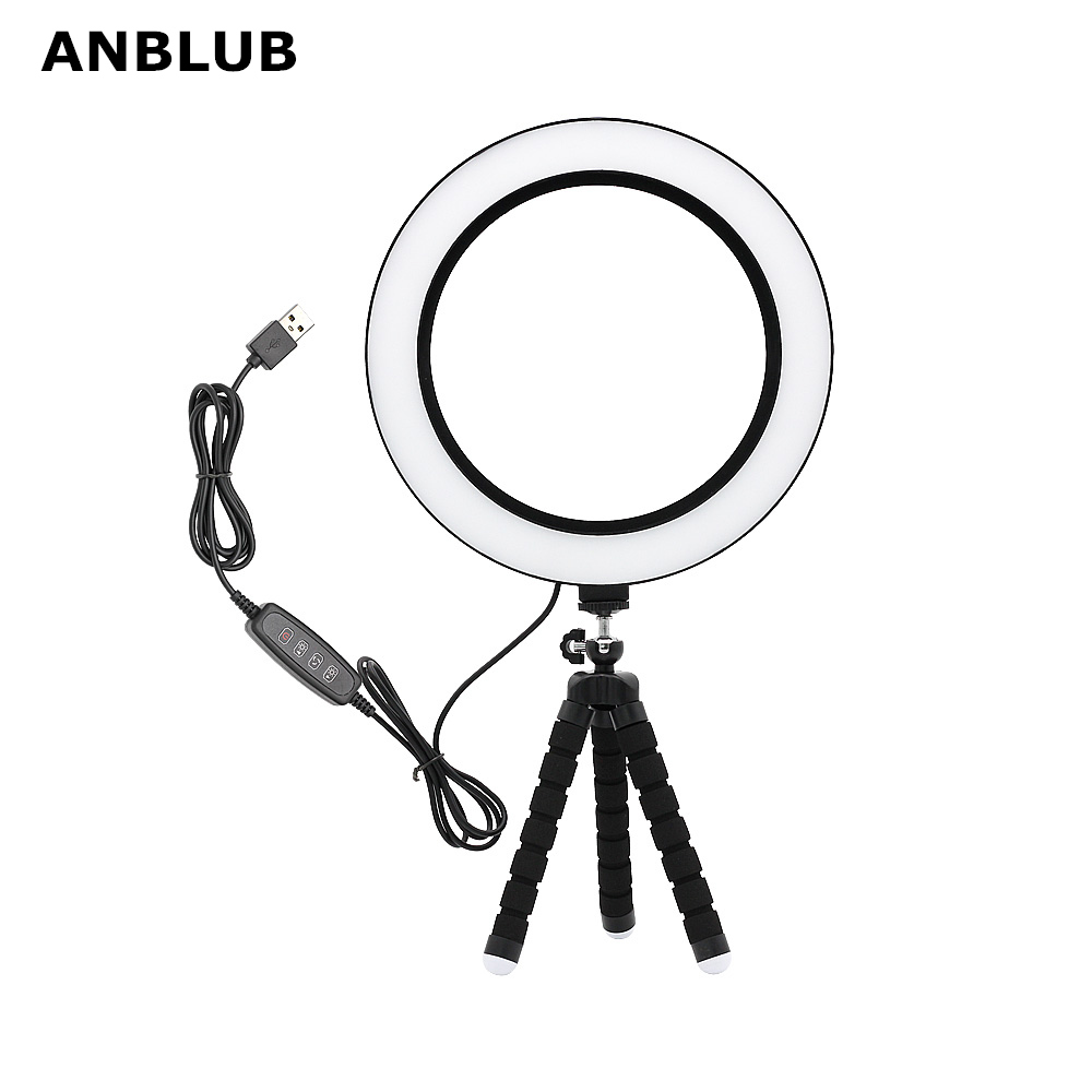 ANBLUB Photography Dimmable USB LED Selfie Ring Light 3500-5500k Makeup Photo Studio Lamp Youtube Video Live With Tripod Stand