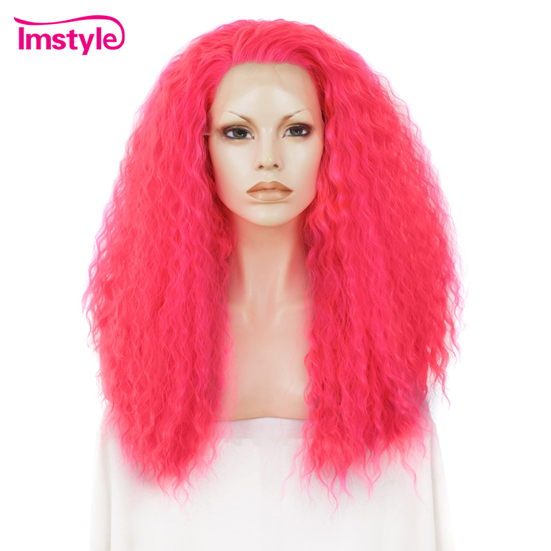 Imstyle Kinky Curly Lace Front Wigs Pink Synthetic Lace Front Wig For Women Heat Resistant Fiber Cosplay Wig
