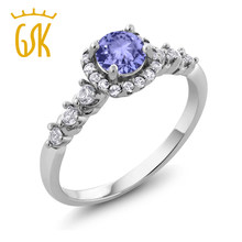 GemStoneKing 925 Sterling Silver Rings For Women 0.88 Ct Round Natural Blue Tanzanite White Topaz Engagement Ring(China)