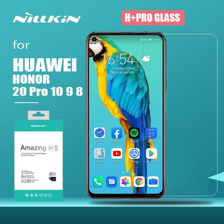 Para huawei honor 20 pro 10 9 8 vidro nillkin h + pro 2.5d vidro temperado protetor de tela para huawei honra 20 10 lite 9 8 hd vidro
