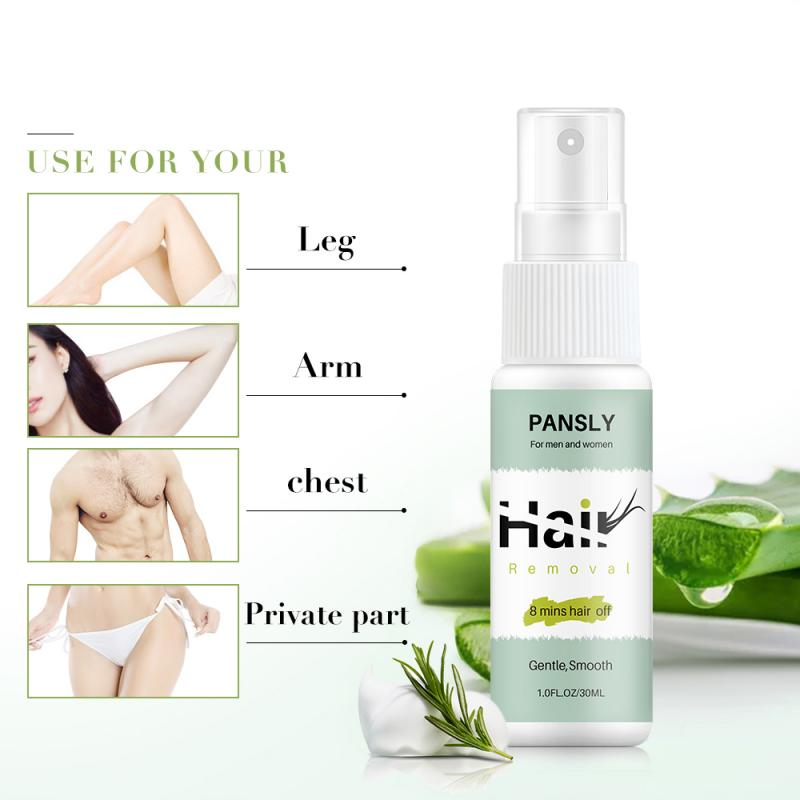 Powerful  Painless Hair Removal Spray Stop Hair Growth Inhibitor Shrink Pores Mild Skin Smooth Repair Natural Aloe Essence