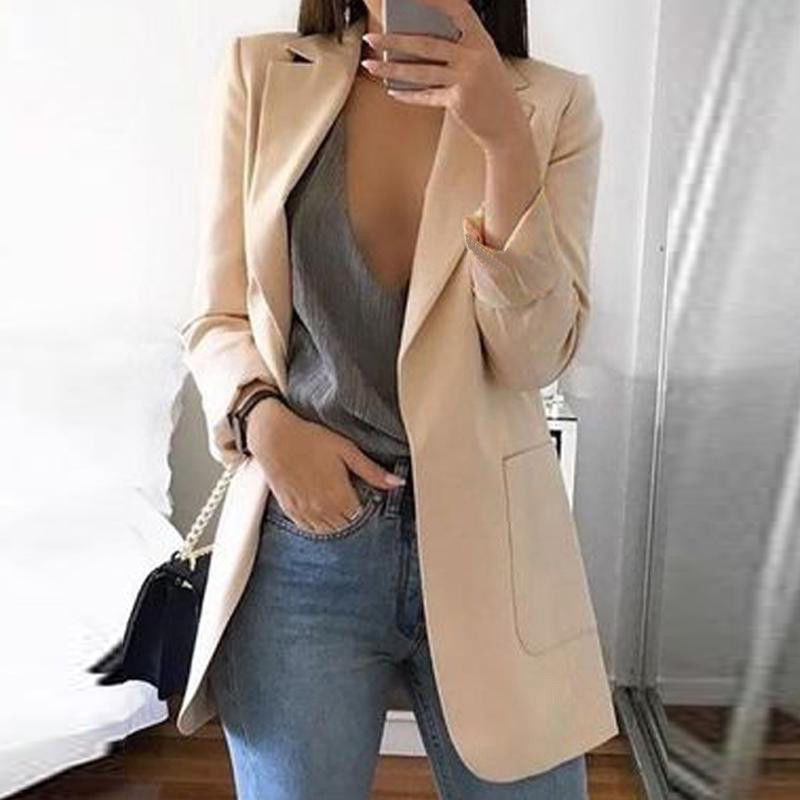 Fall 2020 New Fashion Women's Suit Coat Casual Split Collar Pocket Long Sleeve Office Women's Solid Jacket Plus Size Loose Coat