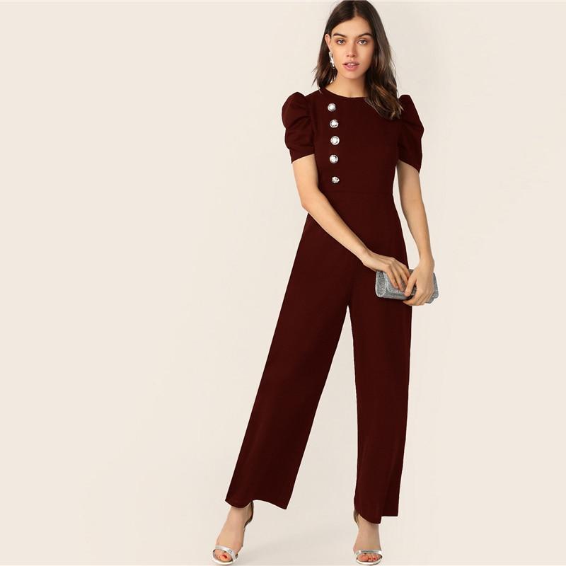 SHEIN Button Embellished Puff Sleeve Wide Leg Jumpsuit Elegant Spring Autumn Women Short Sleeve High Waist Jumpsuit 16