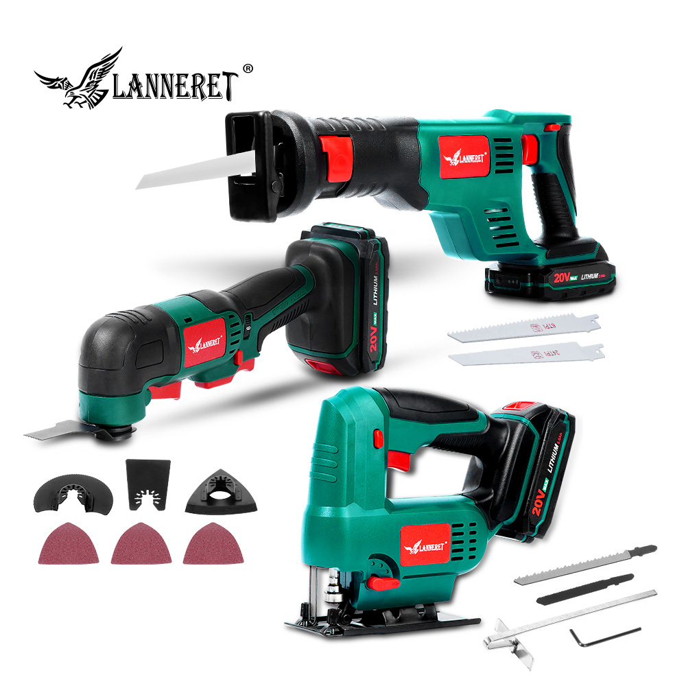 LANNERET Oscillating Tool 20V Li-ion Kit Multi-Tool Variable Speed Cordless Electric Trimmer Saw Renovation Tool