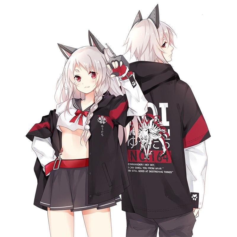 Anime Azur Lane IJN Yudachi Cosplay False two pieces Pullover Spring Autumn Fashion Hoodies Coat Sweatshirt Unisex Student Tops 1