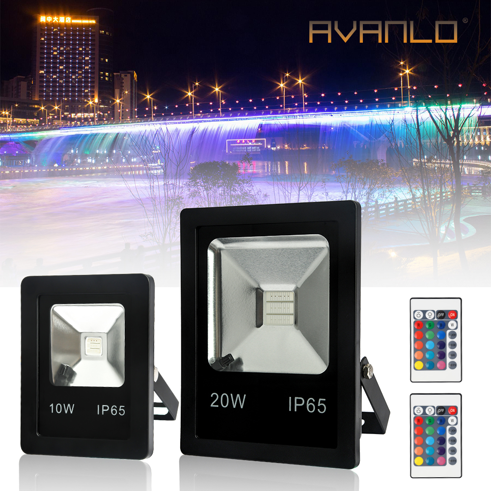 RGB LED 10W /20W Flood Lamp Spot Light Waterproof IP65 16 Color Tones Fexible Security Outdoor Garden Yard Lamps Street Led