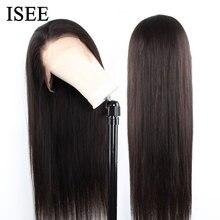 ISEE 毛 360 レースフロントかつら 150% 密度ストレートレースフロント人間の髪かつらレミーのブラジル人毛かつら黒人女性