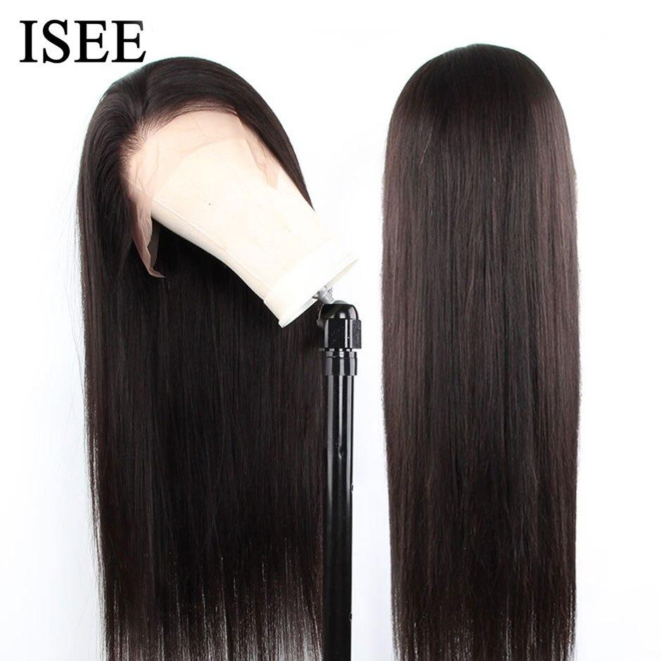 ISEE HAIR-peluca recta con encaje Frontal para mujer, pelucas de cabello humano liso brasileño con encaje Frontal de densidad del 360, pelucas de cabello humano para mujer