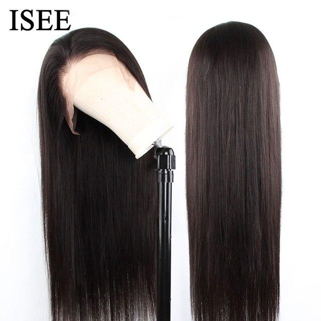 Isee 머리 360 레이스 정면 가발 150% 밀도 스트레이트 레이스 정면 인간의 머리가 발 레미 브라질 인간의 머리가 발 흑인 여성을위한