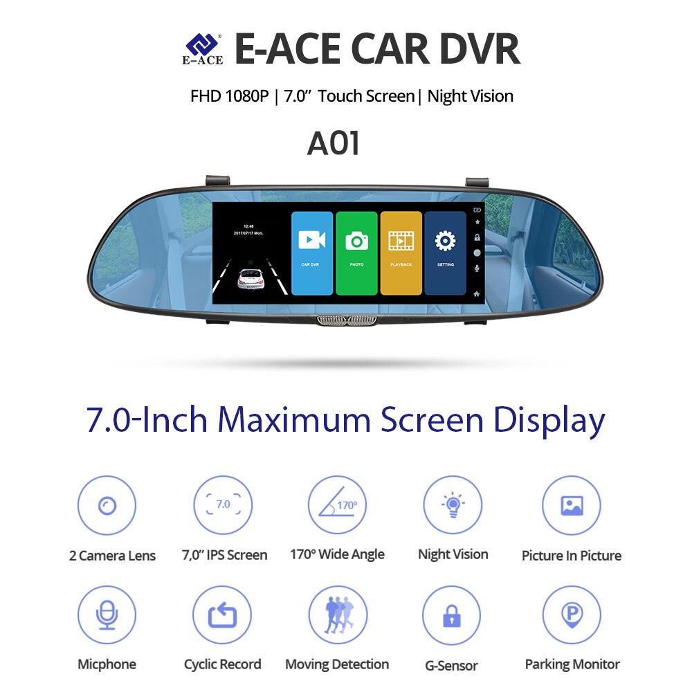 E-ACE Автомобильный видеорегистратор Dashcam DVR зеркальный видеорегистратор FHD 1080P автомобильная камера двойной объектив Автомобильный регистра...