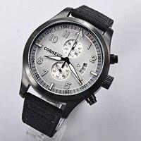 Corgeut 46mm branco dial pvd caso data completa cronógrafo quartzo relógio de pulso masculino