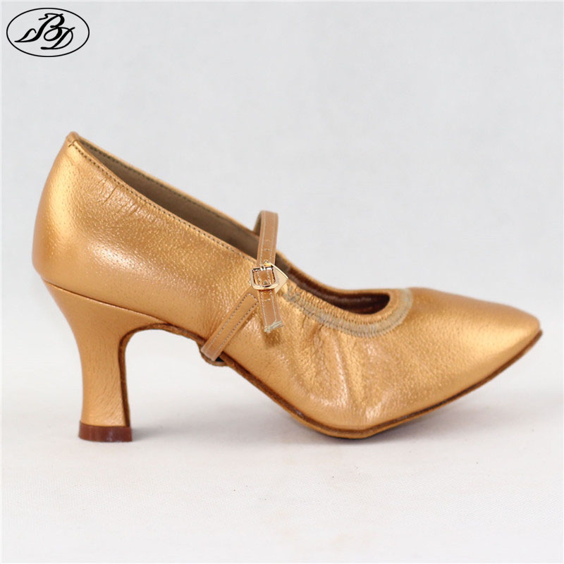 Women Standard Dance Shoes BD 125 Practice Heel Pigskin Leather Women Ballroom Dance Shoe Dancesport Dance Soft Sole