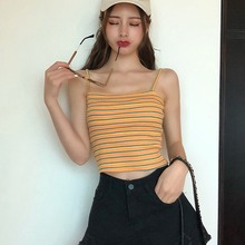 Women Summer Fashion Square Collar Striped Tops Camisole Casual Sexy Sleeveless Sling Crop Camis Vest Female Tee