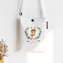New Cartoon Canvas Girl Mini Crossbody bag Buckle Mobile phone Casual Printing Simple High quality Shoulder Woman